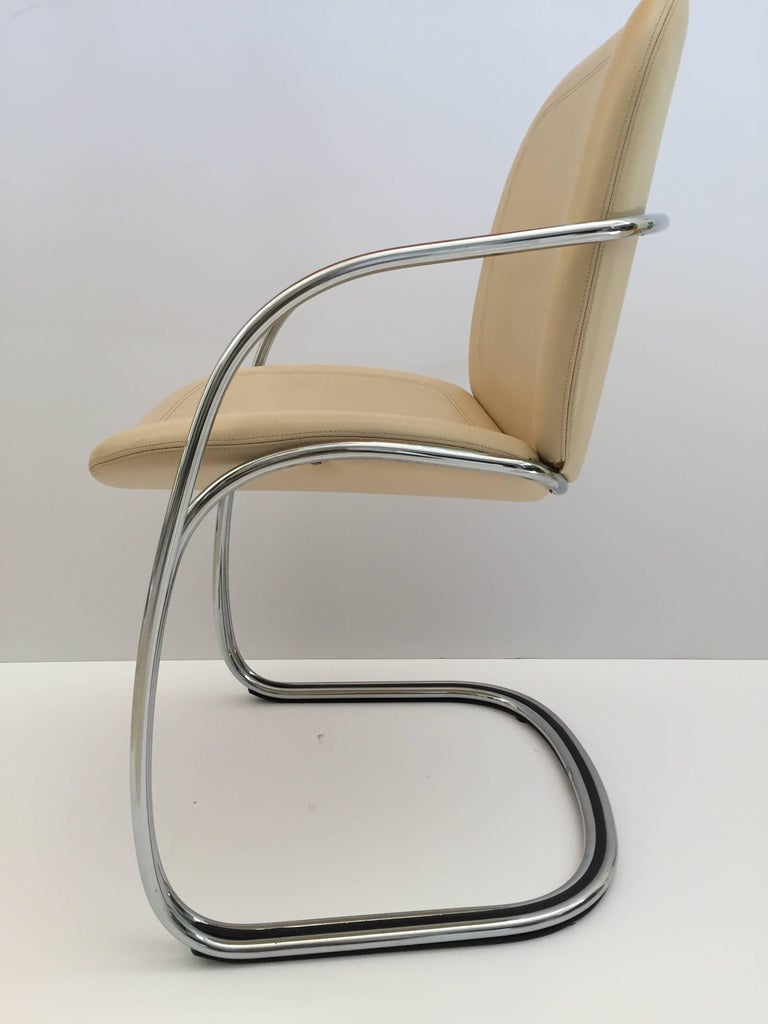 20th Century Italian Chrome and Leather Chairs, by Gastone Rinaldi for RIMA, circa 1970s For Sale