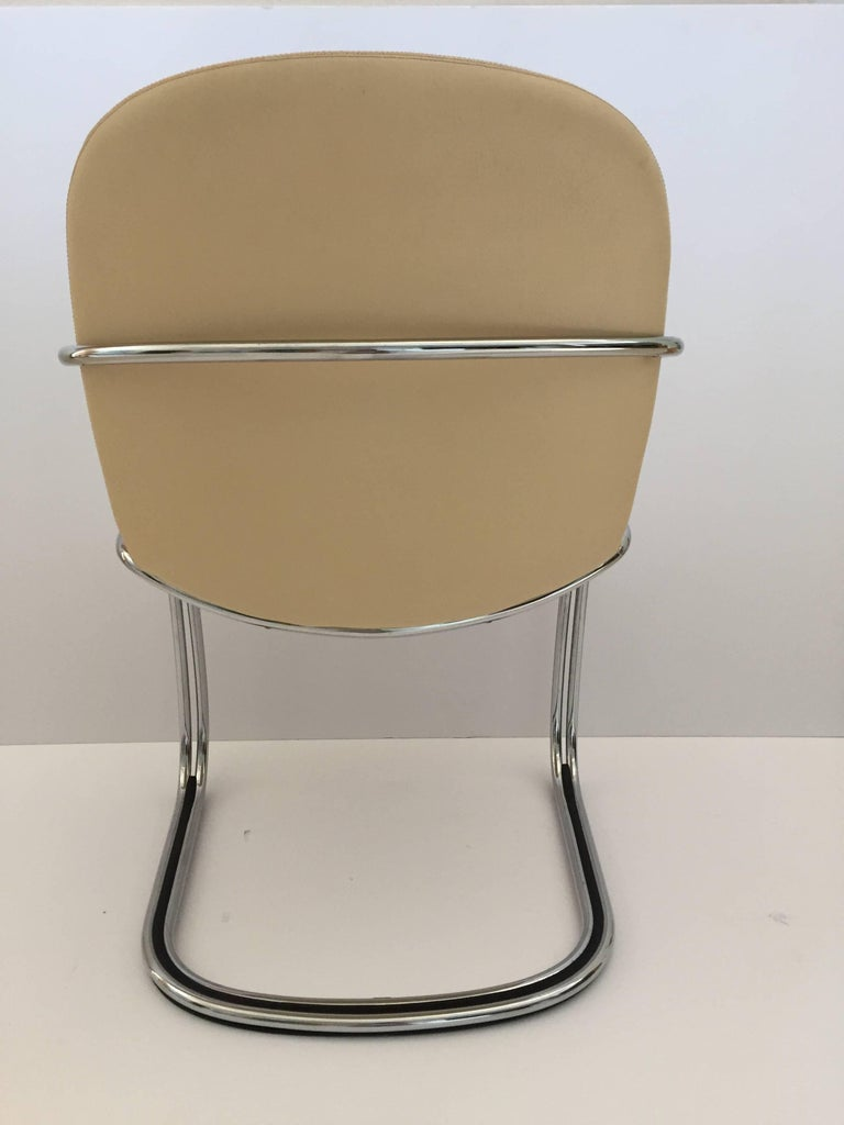 Italian Chrome and Leather Chairs, by Gastone Rinaldi for RIMA, circa 1970s For Sale 1