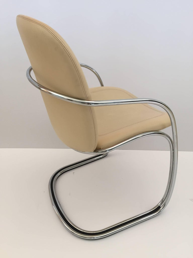 Italian Chrome and Leather Chairs, by Gastone Rinaldi for RIMA, circa 1970s For Sale 2