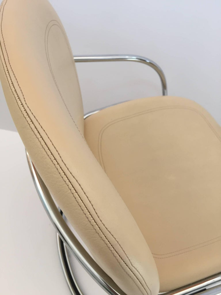 Italian Chrome and Leather Chairs, by Gastone Rinaldi for RIMA, circa 1970s For Sale 4
