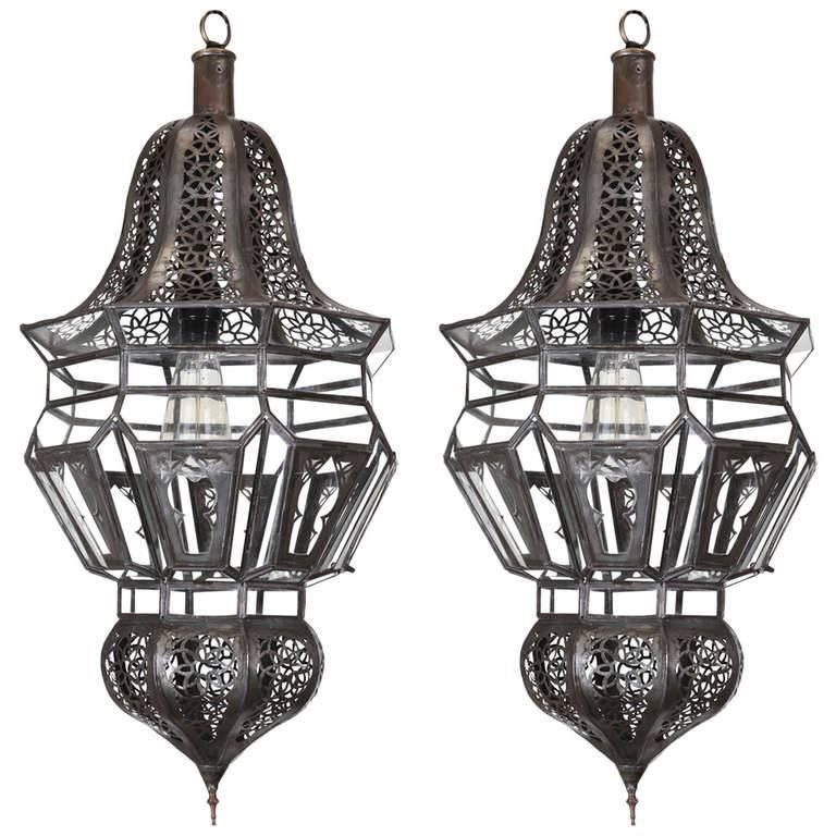 Cut Glass Moroccan Moorish Hanging Pendant Light For Sale