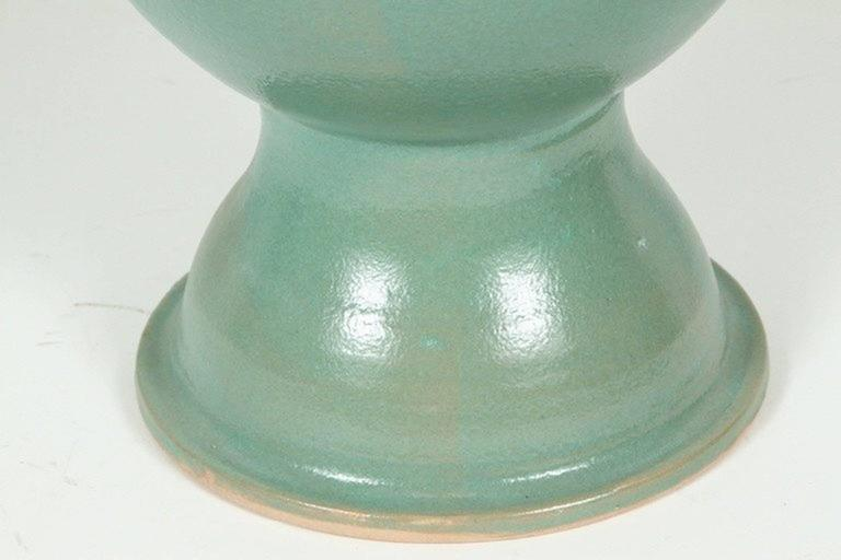 Moorish Moroccan Turquoise Handcrafted Ceramic Vase For Sale
