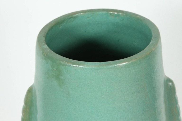 20th Century Moroccan Turquoise Handcrafted Ceramic Vase For Sale