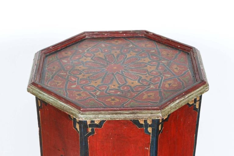 Hand painted moroccan pedestal red table for sale at 1stdibs for Moroccan hand painted furniture