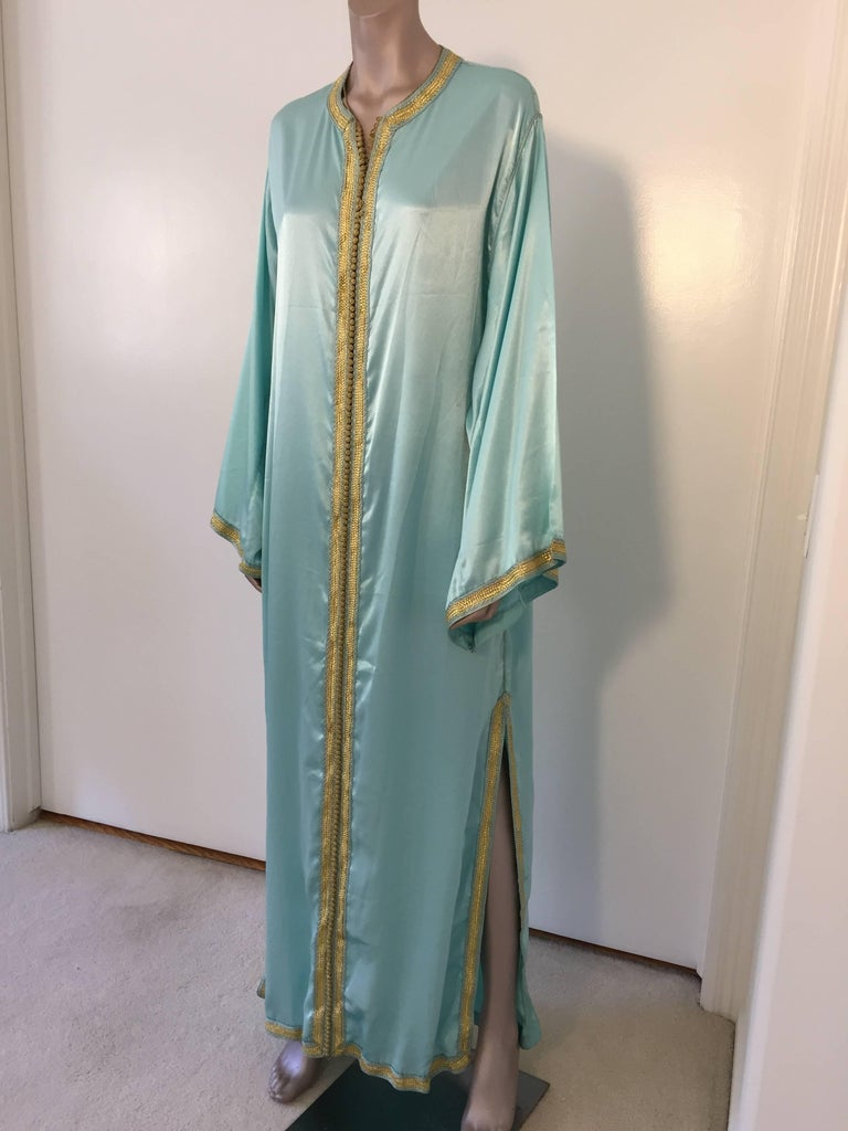 20th Century Moroccan Luxury Silk Caftan Gown Maxi Dress For Sale