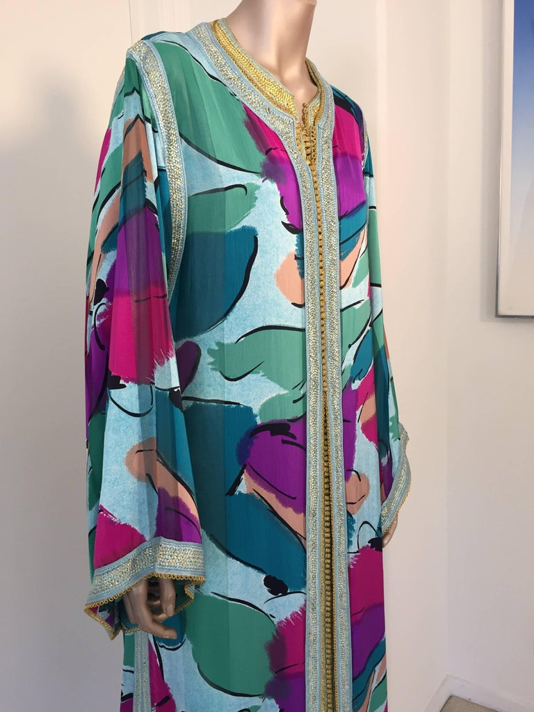 Hand-Crafted Moroccan Luxury Silk Caftan Gown Maxi Dress For Sale