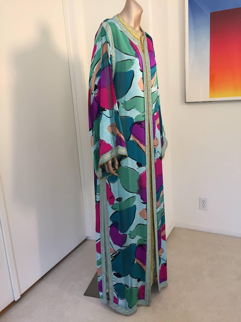 Moorish Moroccan Luxury Silk Caftan Gown Maxi Dress For Sale