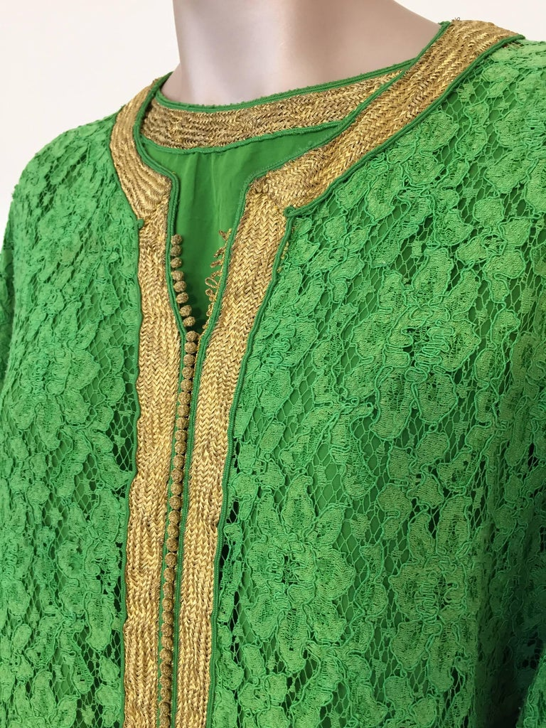Moroccan Emerald Green Lace and Gold Trim Caftan Set 3