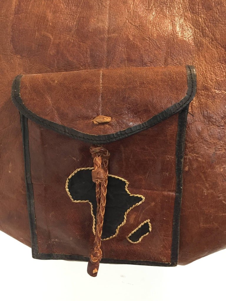 African Vintage Tuareg Leather Bag With Africa Map For