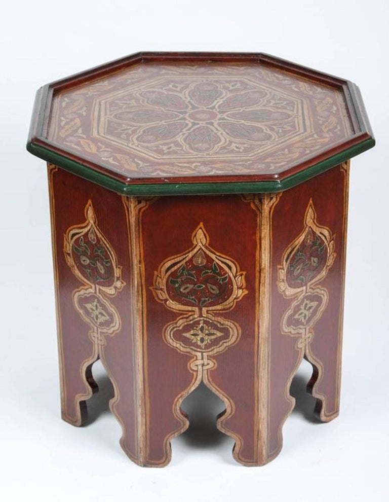 Moroccan hand painted side table with moorish designs at for Moroccan hand painted furniture