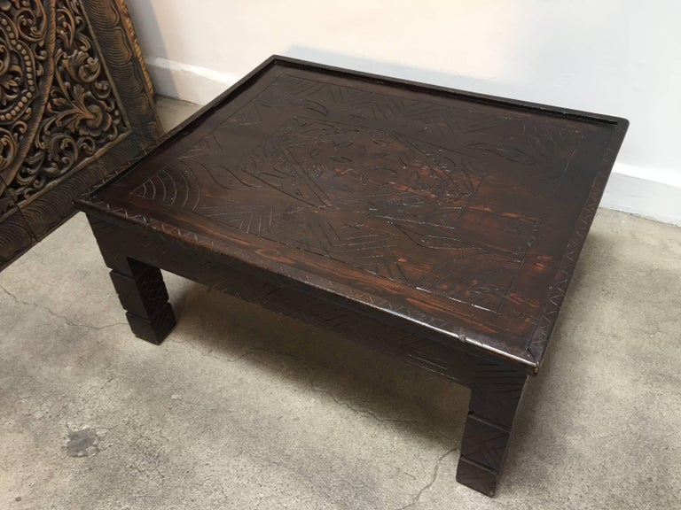 Moroccan Berber Table With Carved Tribal African Designs