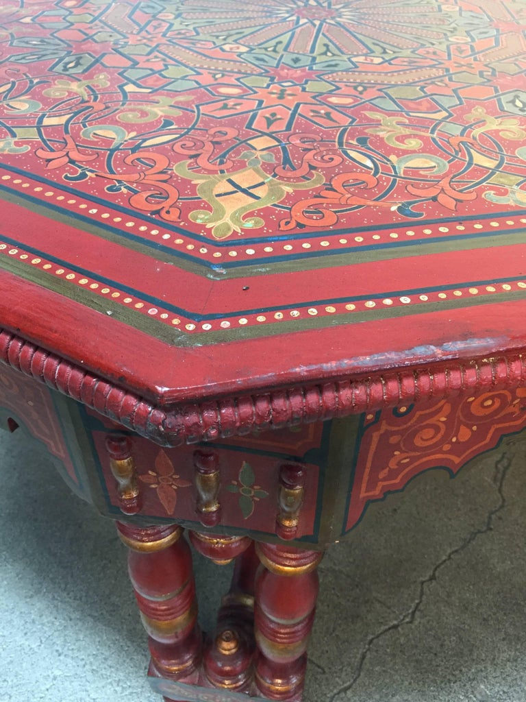 Handcrafted Hand Painted Octagonal Moroccan Coffee Table