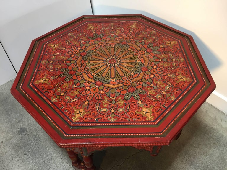 Handcrafted hand painted octagonal moroccan coffee table for Moroccan hand painted furniture