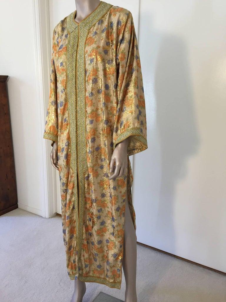 Bohemian Moroccan Brocade Floral Kaftan Gown Maxi Dress For Sale