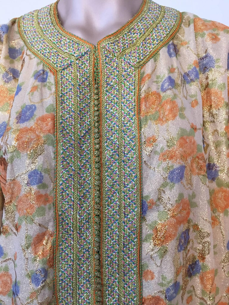 Hand-Crafted Moroccan Brocade Floral Kaftan Gown Maxi Dress For Sale