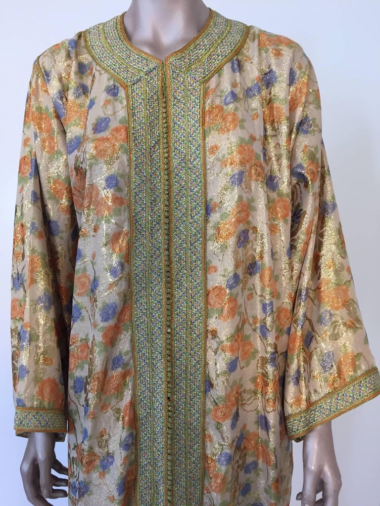 Moroccan Brocade Floral Kaftan Gown Maxi Dress For Sale 1