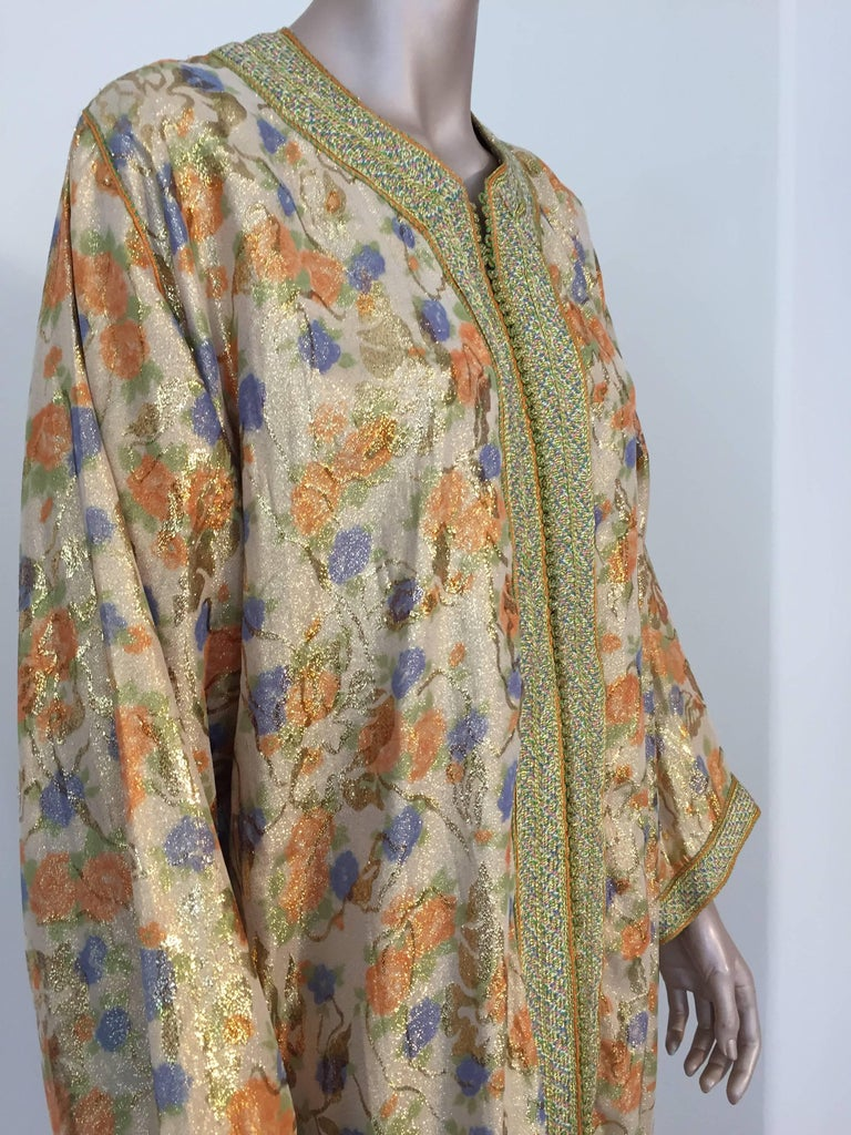 Moroccan Brocade Floral Kaftan Gown Maxi Dress For Sale 3