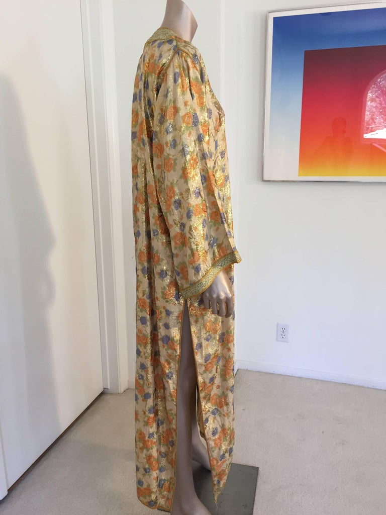Moroccan Brocade Floral Kaftan Gown Maxi Dress For Sale 4