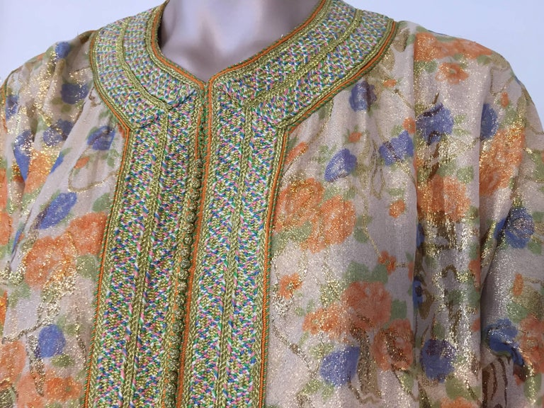 Moroccan Brocade Floral Kaftan Gown Maxi Dress In Good Condition For Sale In North Hollywood, CA