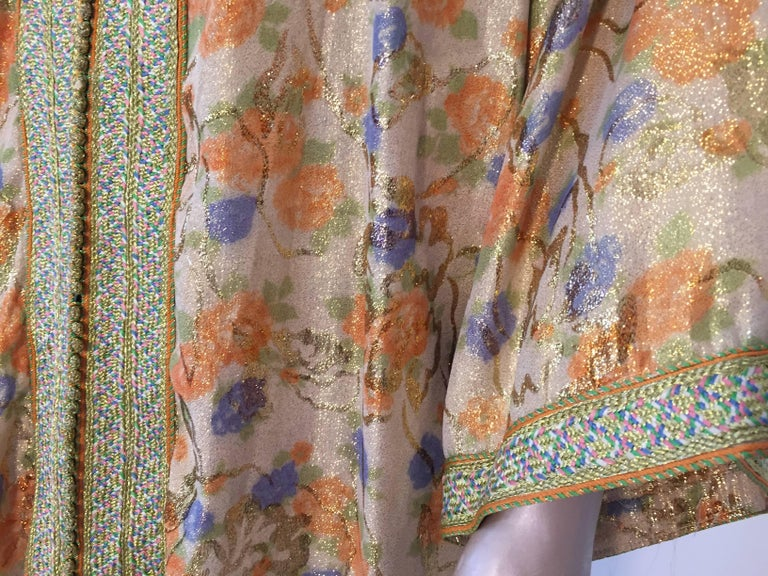 20th Century Moroccan Brocade Floral Kaftan Gown Maxi Dress For Sale