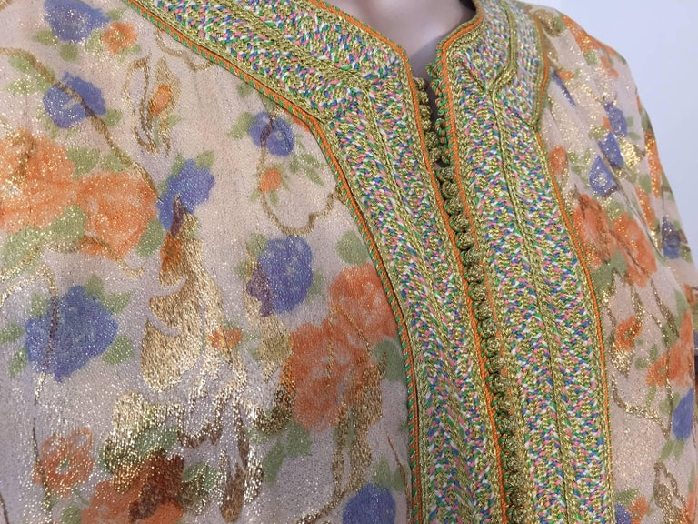 Moroccan Brocade Floral Kaftan Gown Maxi Dress For Sale 2