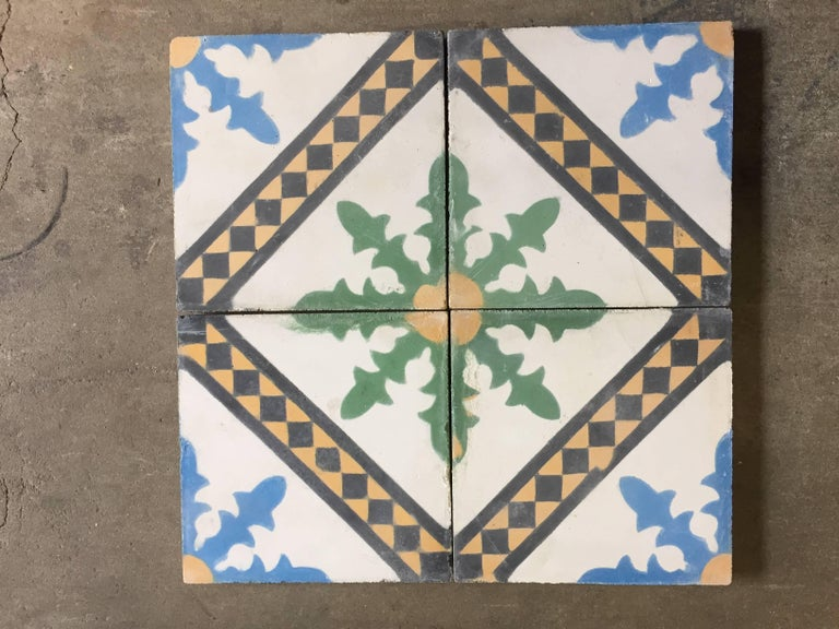 Moroccan Hand Painted Cement Tile With Traditional Fez Design At 1stdibs