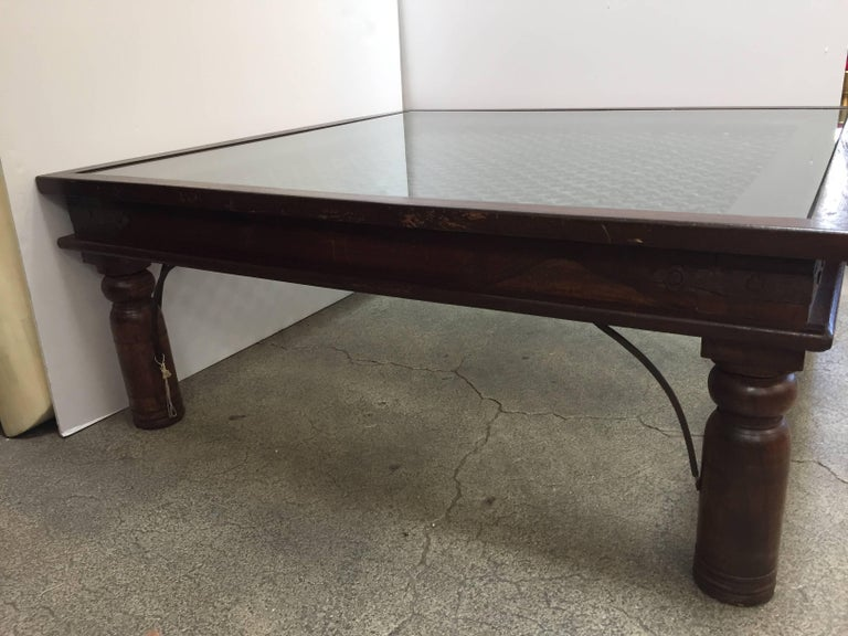 Anglo-Indian Anglo Indian Wooden Coffee Table with Iron and Glass For Sale