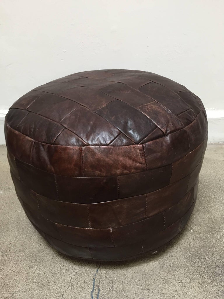 Gorgeous brown leather patchwork ottoman by De Sede.