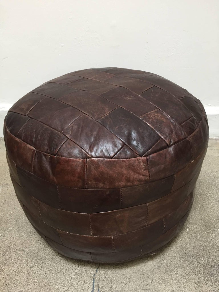 Mid-Century Modern De Sede Brown Leather Ottoman For Sale