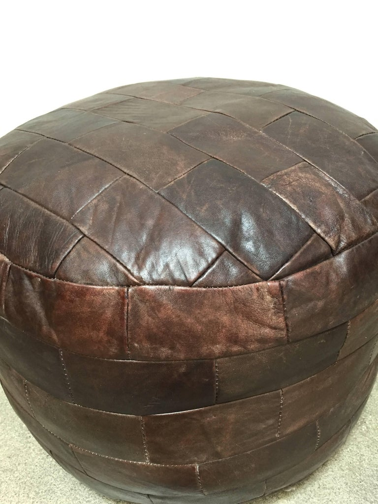 Swiss De Sede Brown Leather Ottoman For Sale