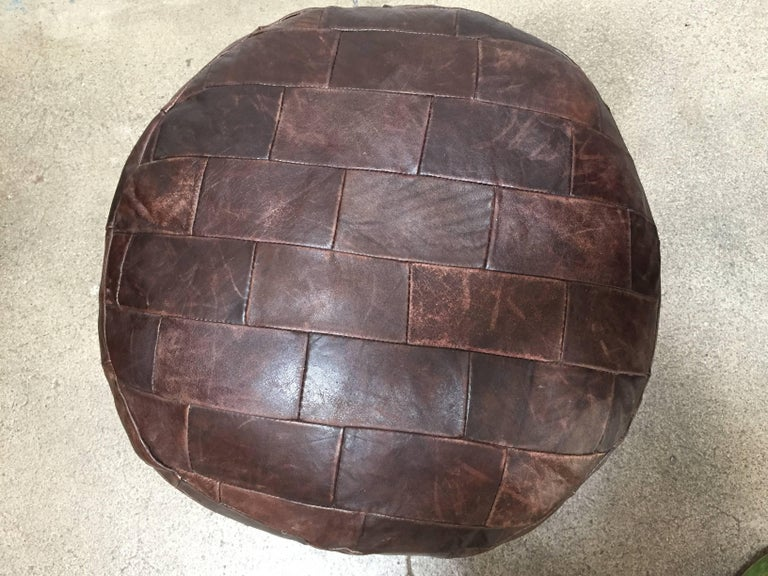 De Sede Brown Leather Ottoman In Good Condition For Sale In Los Angeles, CA