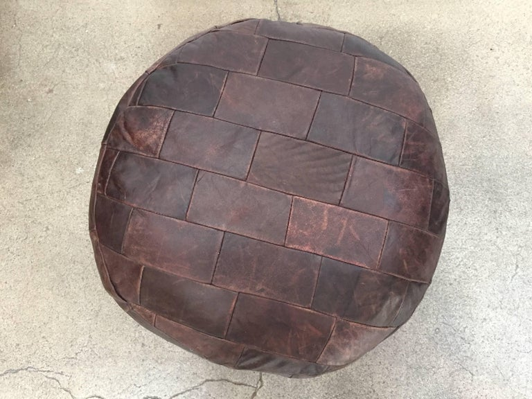 20th Century De Sede Brown Leather Ottoman For Sale