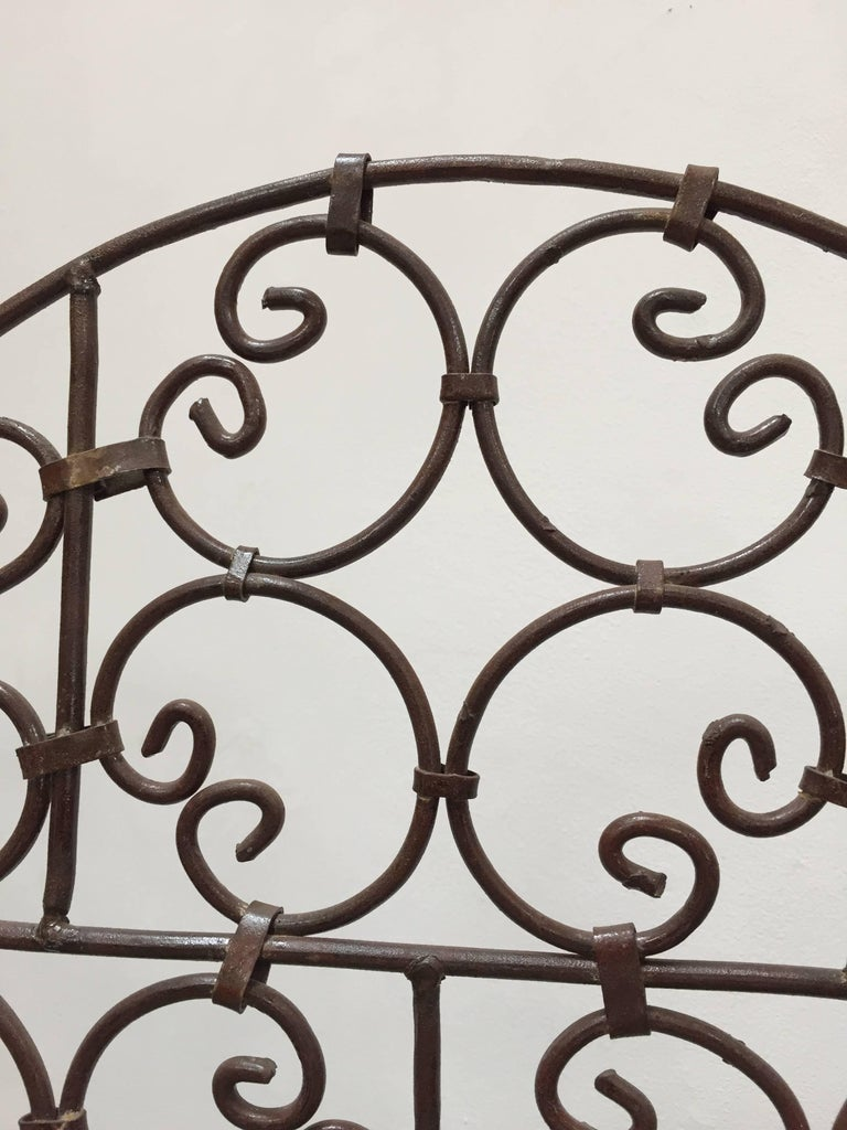 20th Century Hand-Forged Iron Three Panels Folding Moorish Screen For Sale