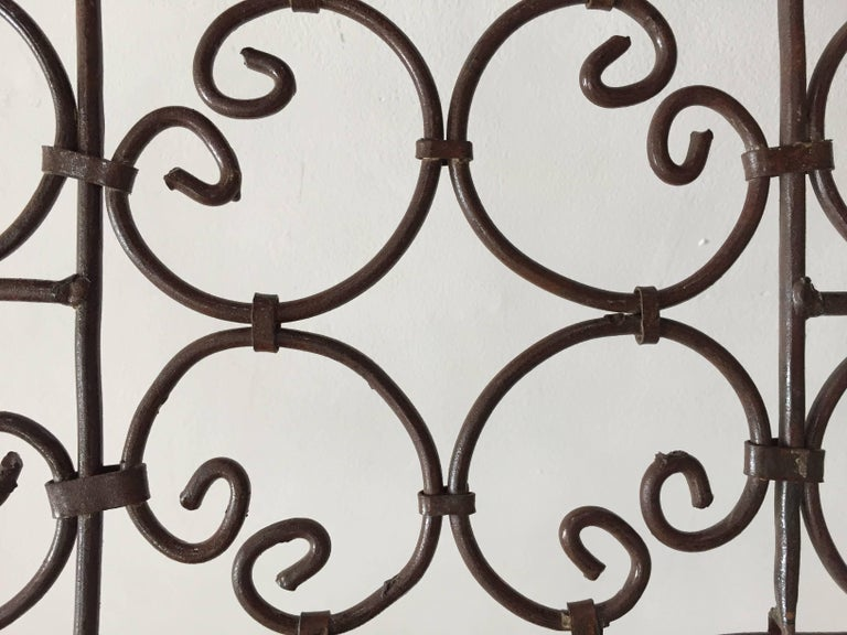 Wrought Iron Hand-Forged Iron Three Panels Folding Moorish Screen For Sale