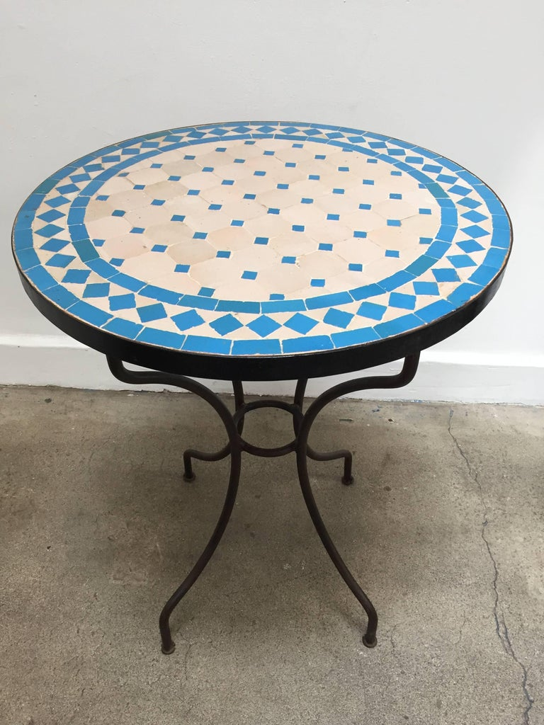 Moroccan Mosaic Blue Tile Bistro Table For Sale At 1stdibs