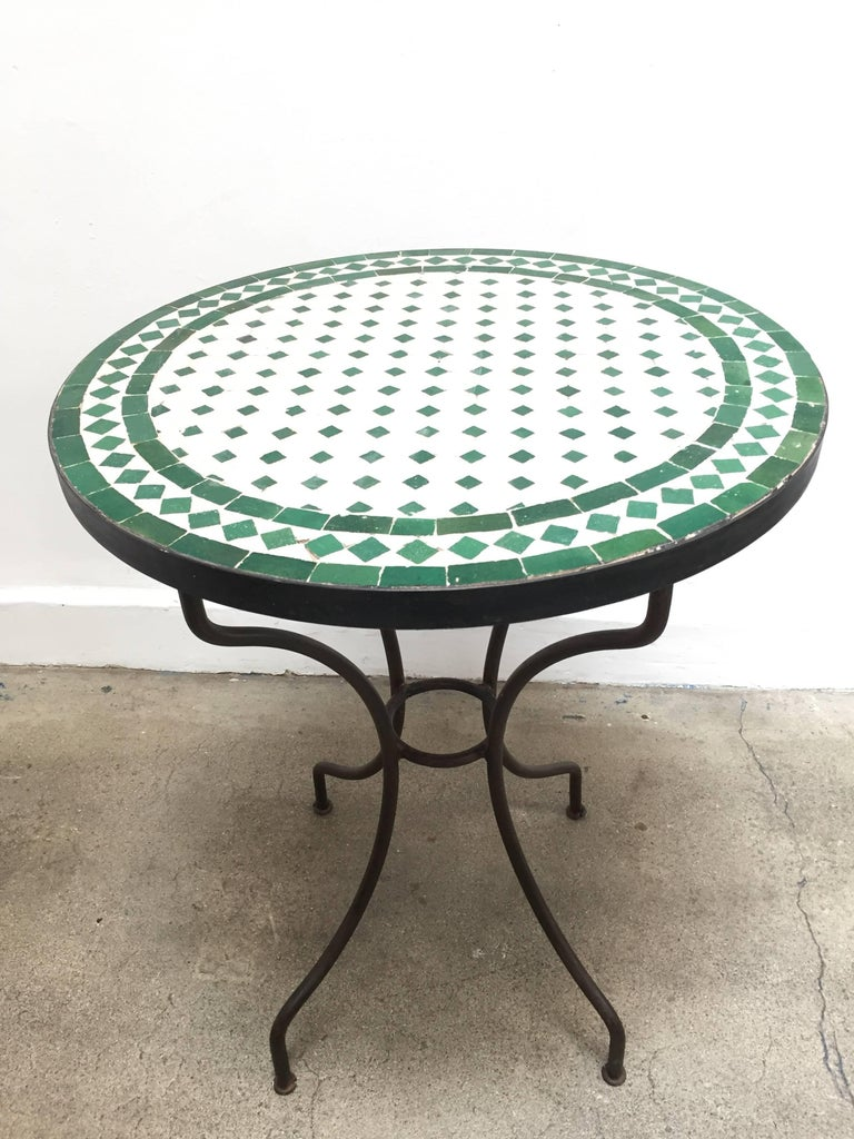 Moroccan Mosaic Tile Bistro Table On Iron Base For Sale At