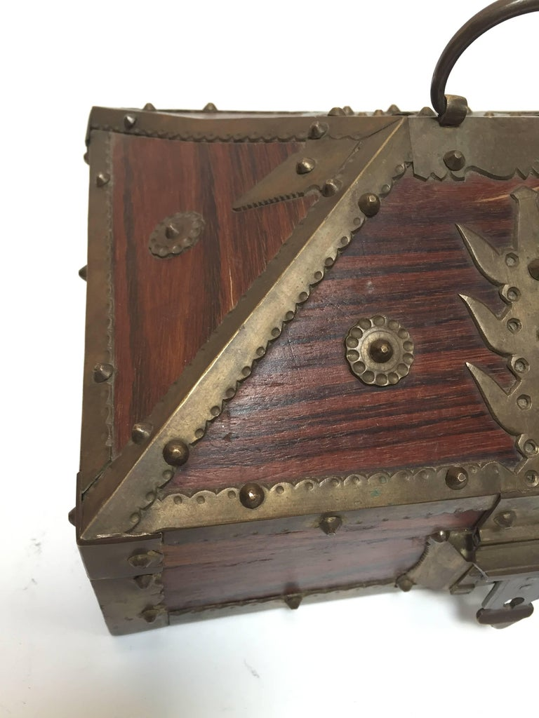 Hammered Ethnic Indian Decorative Jewelry Box with Brass, Kerala Nettur Petti For Sale