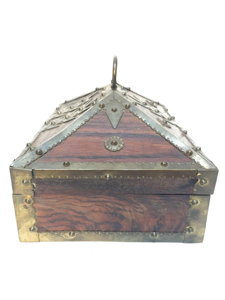 Ethnic Indian Decorative Jewelry Box with Brass, Kerala Nettur Petti In Good Condition For Sale In North Hollywood, CA