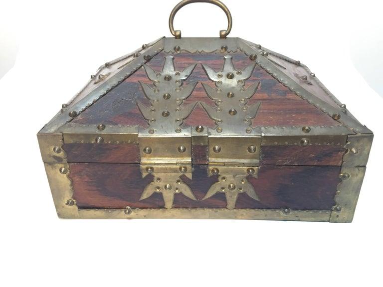20th Century Ethnic Indian Decorative Jewelry Box with Brass, Kerala Nettur Petti For Sale