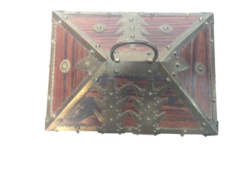 Ethnic Indian Decorative Jewelry Box with Brass, Kerala Nettur Petti For Sale 1