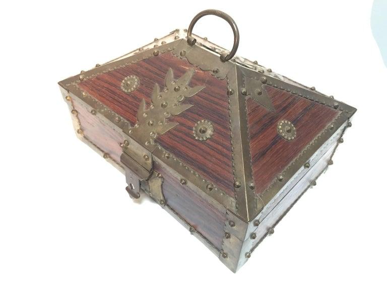 Ethnic Indian Decorative Jewelry Box with Brass, Kerala Nettur Petti For Sale 2
