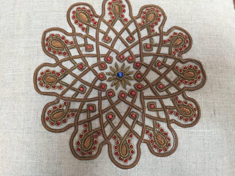 Indian Throw Decorative Accent Pillow Embroidered with Moorish Metallic Threads Design For Sale