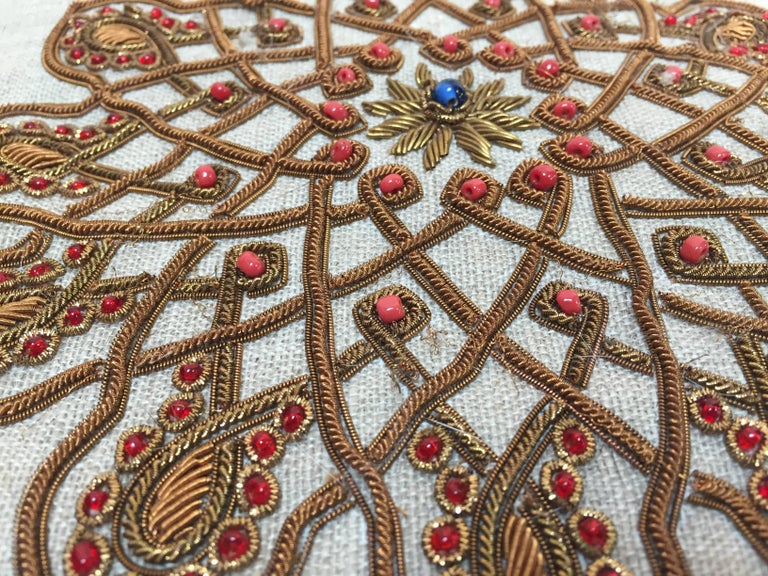 Throw Decorative Accent Pillow Embroidered with Moorish Metallic Threads Design In Good Condition For Sale In Los Angeles, CA