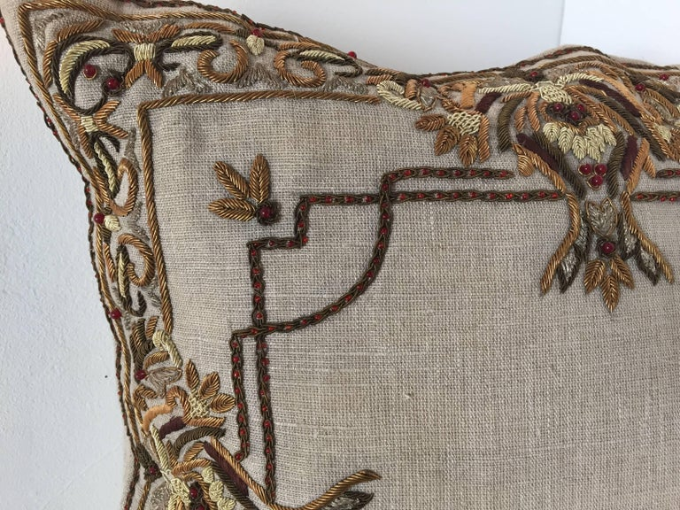 20th Century Accent Pillow Embroidered with Moorish Metallic Threads Design For Sale