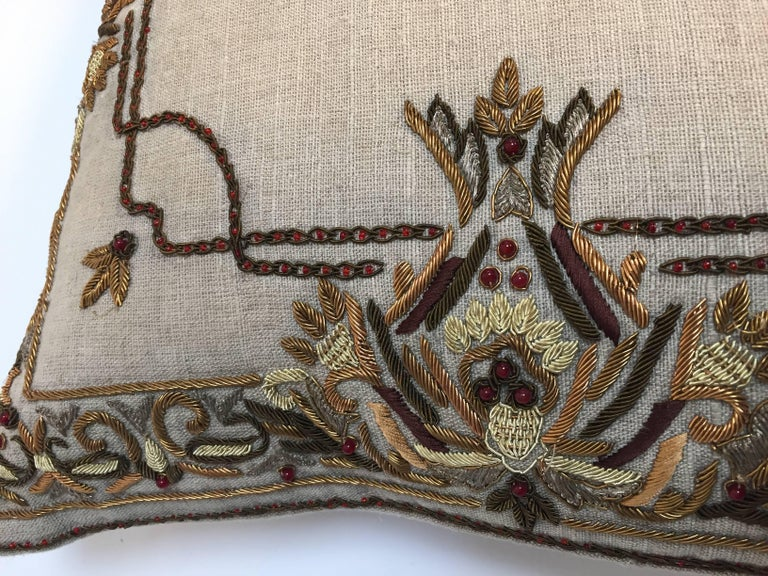 Linen Accent Pillow Embroidered with Moorish Metallic Threads Design For Sale