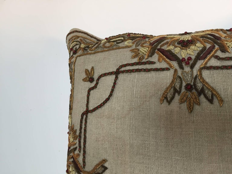 Accent Pillow Embroidered with Moorish Metallic Threads Design For Sale 2