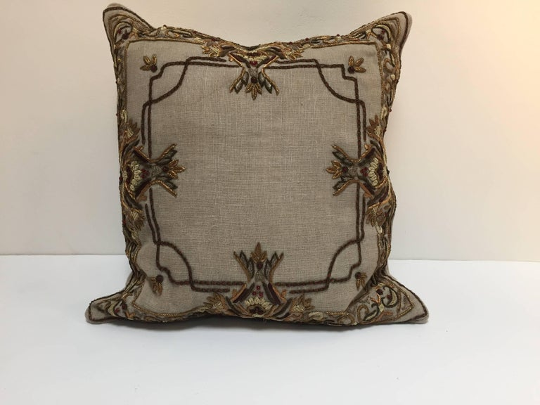 Accent Pillow Embroidered with Moorish Metallic Threads Design For Sale 3