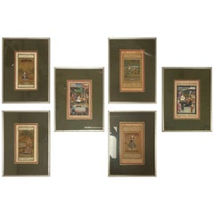Set of Six Indian Miniature Framed Paintings, 19th Century