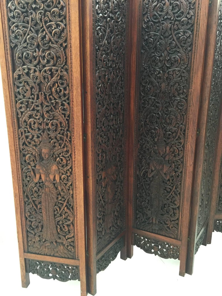 Asian Hand-Carved Wood Five Panels Double-Sided Folding Screen Room Divider For Sale 1