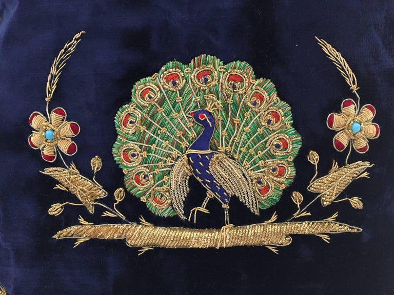 Velvet Blue Silk Pillow Embroidered with Gold Peacock In Good Condition For Sale In Los Angeles, CA